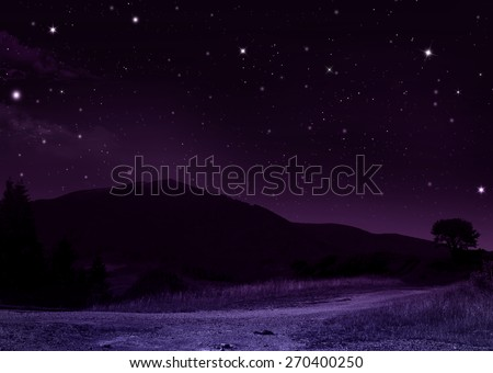 quiet summer night in the mountains - stock photo