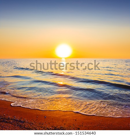 quiet sunset at the sea - stock photo
