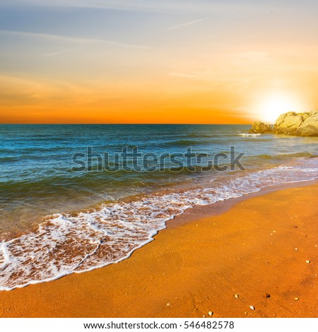quiet sunset over a sea coast