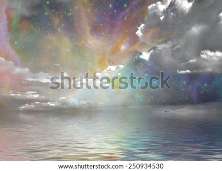 Quiet Waters and Starry Sky - stock photo