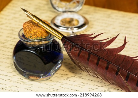 Quill pen and ink - stock photo