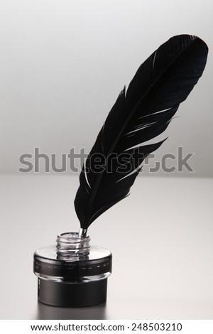 quill pen in the ink well - stock photo