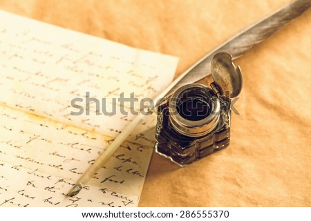 Quill Pen, Old, Pen. - stock photo