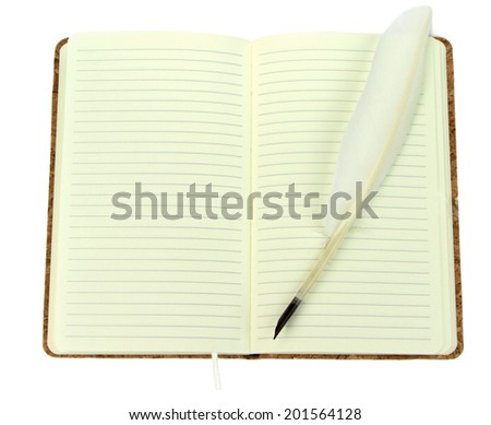 Quill pen on a open notebook. Vintage image. - stock photo