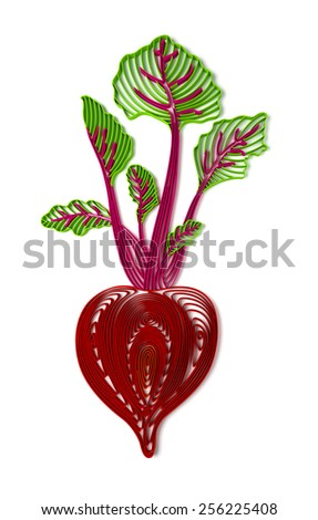 Quilling stylized 3D beetroot illustration over white - stock photo