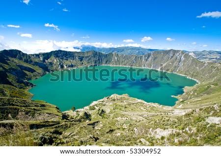 Quilotoa crater lake, Ecuador - stock photo