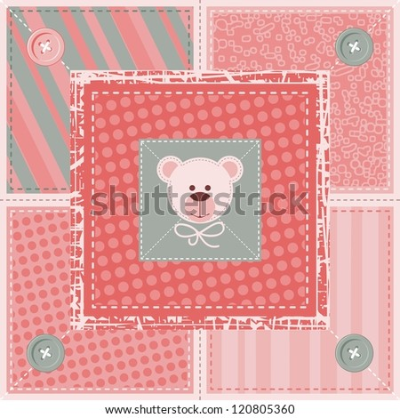 Quilt decorative pattern or background with teddy bear - stock photo