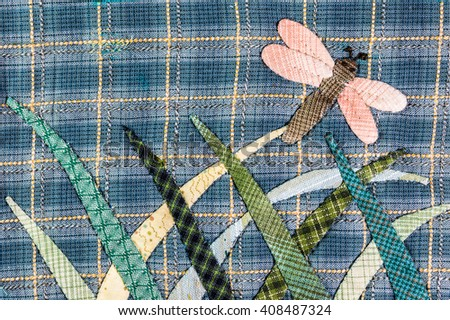 Quilt : Dragonfly - stock photo