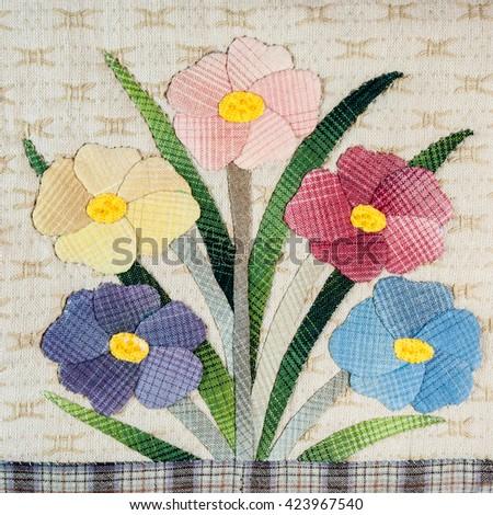 Quilt : Flowers 3 - stock photo