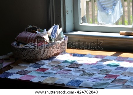Quilt materials by window