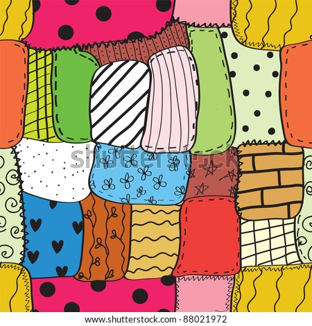 Quilt seamless wallpaper with different patterns - stock photo