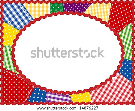 Quilted Patchwork Frame Gingham Polka Dots Stock Illustration ...