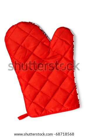 Quilted red heat protective mitten isolated over white