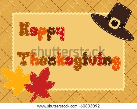 Quilted Thanksgiving postcard with Pilgrim hat(jpg); Eps10 version also available - stock photo