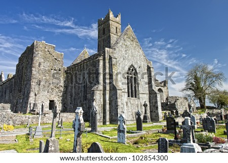 Quin Abbey  in Quin, Co.Clare in Ireland. - stock photo