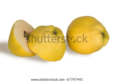 quince (golden apple) and section isolated on white background