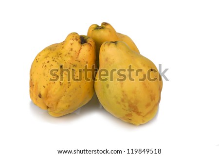 quince on white background