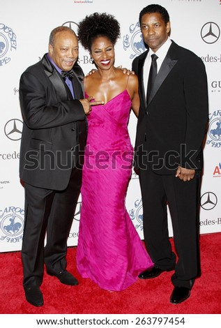 Quincy Jones and Denzel Washington at the 30th Carousel of Hope Ball held at the Beverly Hilton Hotel in Beverly Hills, California, United States on October 25, 2008.  - stock photo