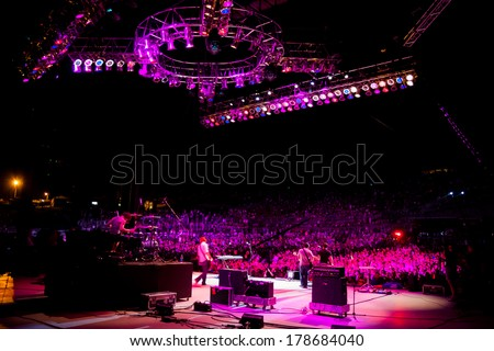 QUINCY, WA - JULY 26, 2006: Backstage photo of the band Relient K performing at Creation NW, a 4 day Christian concert festival at the Gorge Ampitheater in Washington. - stock photo