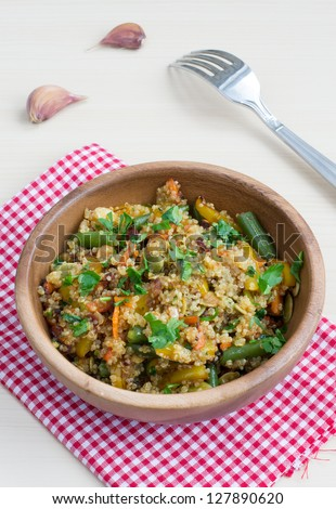 Quinoa and vegetables stir-fried in a Chinese style - stock photo