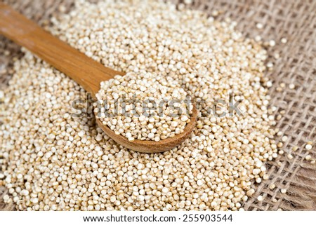 quinoa in a wooden spoon