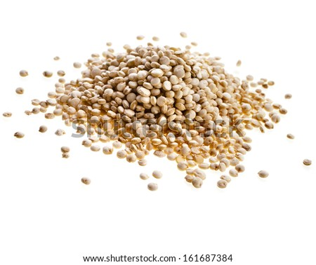 quinoa seed grain close up macro shot isolated on a white background - stock photo