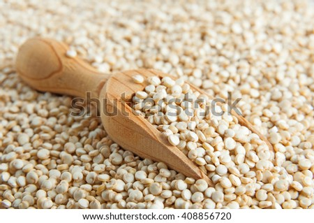 Quinoa seeds and small wood spoon