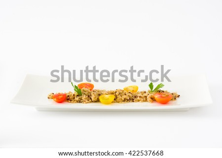 Quinoa, tomatoes and spinach isolated on white background  - stock photo