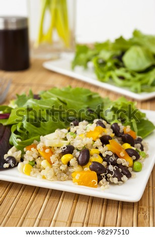 Quinoa vegetable salad with mixed greens - stock photo