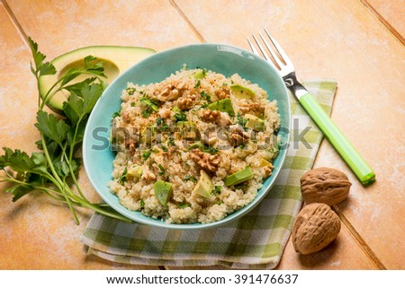 quinoa with avocado and nuts