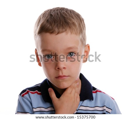 Quinsy. The boy keeps for a sick throat - stock photo