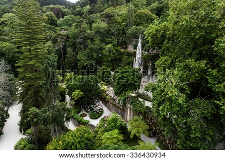 Quinta da Regaleira, one of several well-known parks in the city of Sintra. - stock photo