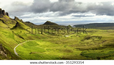Quiraing mountain on isle of skye, Scotland by a beautiful summer day. - stock photo