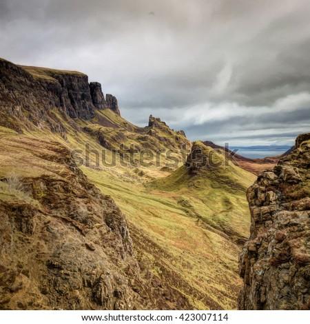 Quirang, Isle of Skye - stock photo