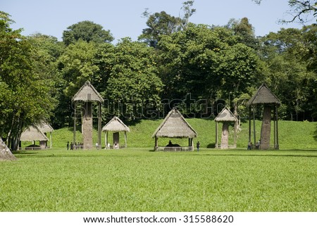 quirigua, guatemala, mayan, america, site, pyramid, maya, nature, latin, central, archaeological, stone, world, sculpture, archeology, travel, tourism, culture, historic, monument, archaeology - stock photo