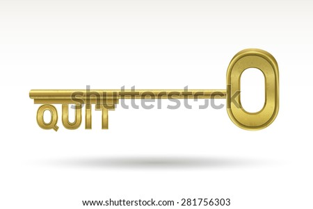 quit - golden key isolated on white background