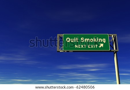 Quit Smoking - Freeway Exit Sign - stock photo