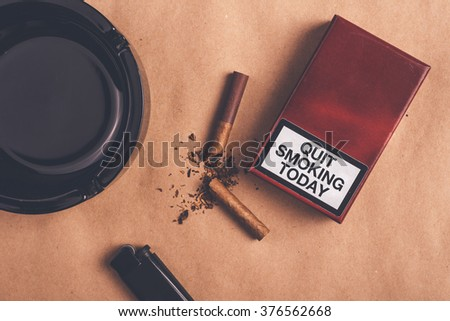 Quit smoking today concept, top view - stock photo