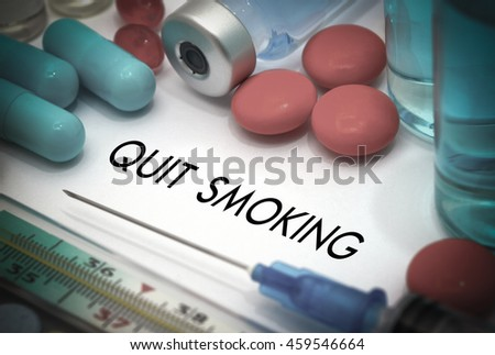 Quit smoking. Treatment and prevention of disease. Syringe and vaccine. Medical concept. Selective focus - stock photo