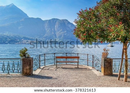 Quite place to overview Como lake, Bellagio, Italy.
