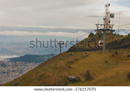 Quito, Cable Car In  The Capital Of Ecuador, South America