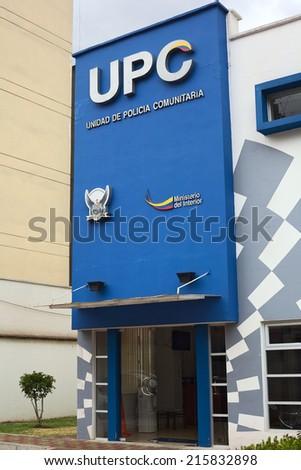 QUITO, ECUADOR - AUGUST 6, 2014: Building of UPC (Unidad de Policia Comunitaria, Communitarian Police Unit) on Gil. Ramirez Davalos Street on August 6, 2014 in Quito, Ecuador  - stock photo