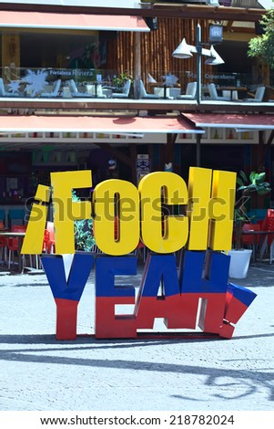 QUITO, ECUADOR - AUGUST 4, 2014: Foch Yeah sign on Plaza Foch at the intersection of Reina Victoria and Mariscal Foch in the tourist district of La Mariscal on August 4, 2014 in Quito, Ecuador - stock photo