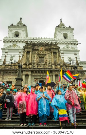 Quito, Ecuador - August 27, 2015: Large crowd gathered for anti government protests on city square - stock photo