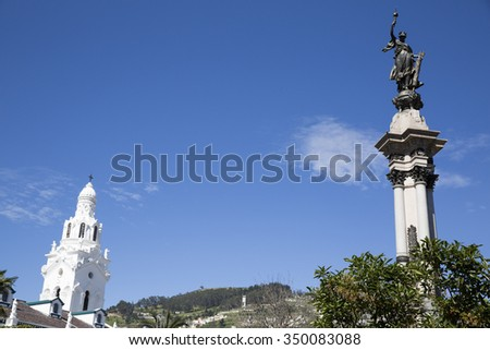 QUITO,ECUADOR/ECUADOR-DECEMBER 6: Architecture of the historic center of Quito on December 6 2015. Colonial center in Quito is the first UNESCO World Heritage site.