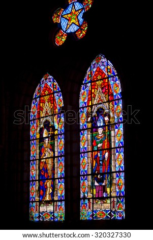 QUITO, ECUADOR, FEB 24: Magnificent stained glass inside the Basilica del Voto Nacional is a Roman Catholic Church in Quito, Ecuador 2015.