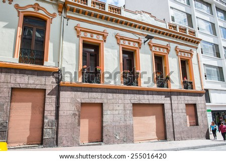 QUITO, ECUADOR - JAN 1, 2015: Architecture of the historic center of Quito. Historic center of Quito is the first UNESCO WOrld Heritage site