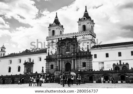 QUITO, ECUADOR - JAN 1, 2015: Church and Monastery of St. Francis in the historic center of Quito. Historic center of Quito is the first UNESCO WOrld Heritage site