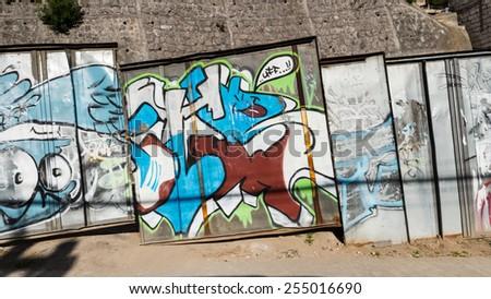 QUITO, ECUADOR - JAN 1, 2015: Graffity in Quito, Ecuador. Quito is the capitalof Ecuador, and  the highest capital city in the world (2800m). - stock photo