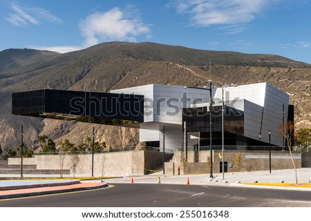QUITO, ECUADOR - JAN 1, 2015: Modern architecture of Quito, Ecuador. Quito is the capitalof Ecuador, and  the highest capital city in the world (2800m). - stock photo